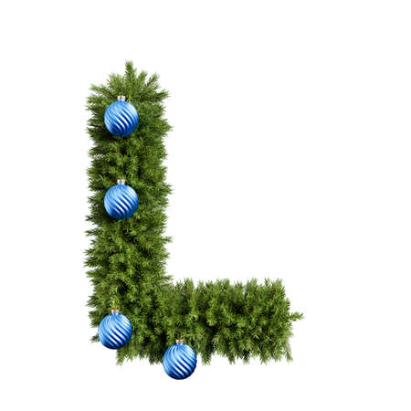 Christmas alphabet ABC character letter L font with Christmas ball. Christmas tree branches capital letters decoration type with Christmas sphere. Highly realistic 3d rendering illustration. Text font isolated on white background