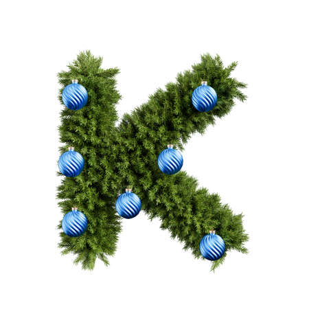 Christmas alphabet ABC character letter K font with Christmas ball. Christmas tree branches capital letters decoration type with Christmas sphere. Highly realistic 3d rendering illustration. Text font isolated on white background
