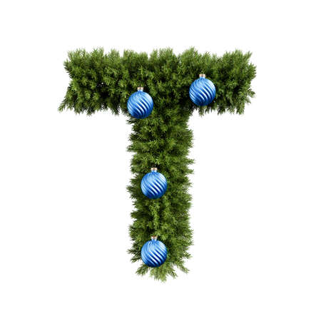 Christmas alphabet ABC character letter T font with Christmas ball. Christmas tree branches capital letters decoration type with Christmas sphere. Highly realistic 3d rendering illustration. Text font isolated on white background 스톡 콘텐츠