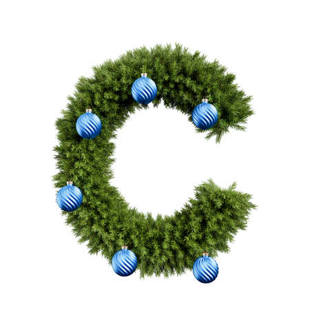 Christmas alphabet ABC character letter C font with Christmas ball. Christmas tree branches capital letters decoration type with Christmas sphere. Highly realistic 3d rendering illustration. Text font isolated on white background