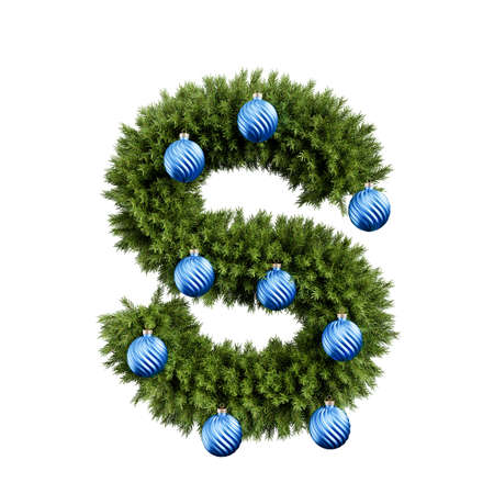 Christmas alphabet ABC character letter S font with Christmas ball. Christmas tree branches capital letters decoration type with Christmas sphere. Highly realistic 3d rendering illustration. Text font isolated on white background Stockfoto