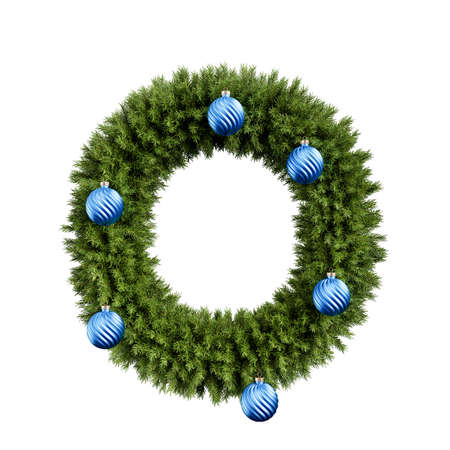 Christmas alphabet ABC character letter O font with Christmas ball. Christmas tree branches capital letters decoration type with Christmas sphere. Highly realistic 3d rendering illustration. Text font isolated on white background