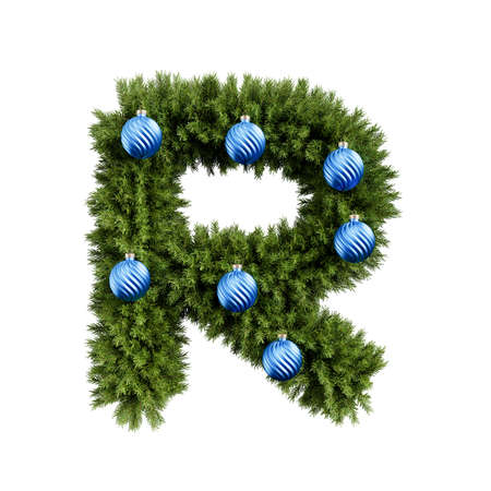 Christmas alphabet ABC character letter R font with Christmas ball. Christmas tree branches capital letters decoration type with Christmas sphere. Highly realistic 3d rendering illustration. Text font isolated on white background