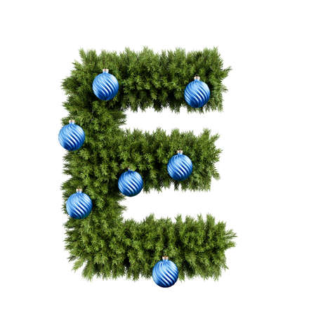 Christmas alphabet ABC character letter E font with Christmas ball. Christmas tree branches capital letters decoration type with Christmas sphere. Highly realistic 3d rendering illustration. Text font isolated on white background