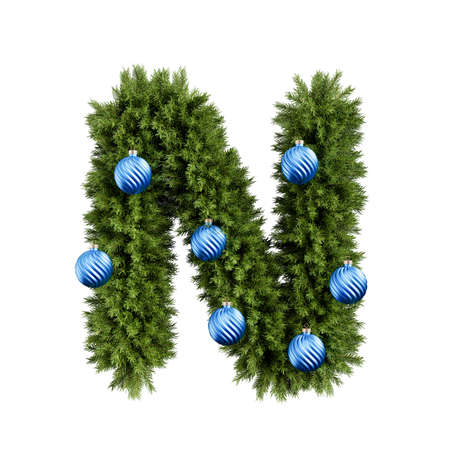Christmas alphabet ABC character letter N font with Christmas ball. Christmas tree branches capital letters decoration type with Christmas sphere. Highly realistic 3d rendering illustration. Text font isolated on white background