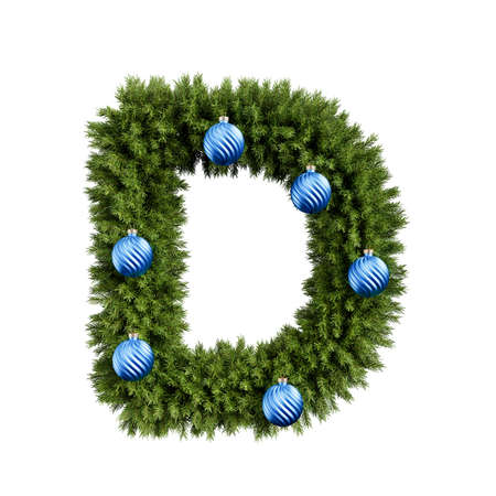Christmas alphabet ABC character letter D font with Christmas ball. Christmas tree branches capital letters decoration type with Christmas sphere. Highly realistic 3d rendering illustration. Text font isolated on white background