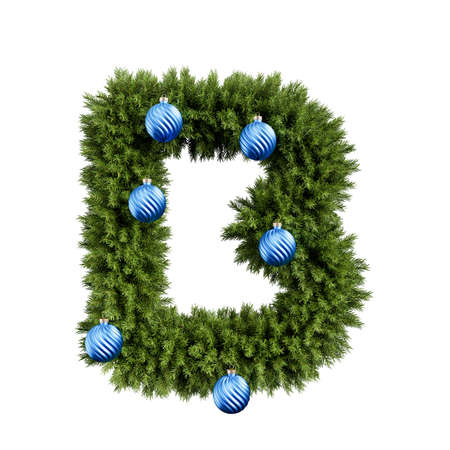 Christmas alphabet ABC character letter B font with Christmas ball. Christmas tree branches capital letters decoration type with Christmas sphere. Highly realistic 3d rendering illustration. Text font isolated on white background