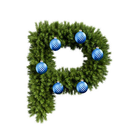 Christmas alphabet ABC character letter P font with Christmas ball. Christmas tree branches capital letters decoration type with Christmas sphere. Highly realistic 3d rendering illustration. Text font isolated on white background Archivio Fotografico