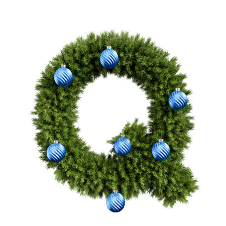 Christmas alphabet ABC character letter Q font with Christmas ball. Christmas tree branches capital letters decoration type with Christmas sphere. Highly realistic 3d rendering illustration. Text font isolated on white background Stock Photo