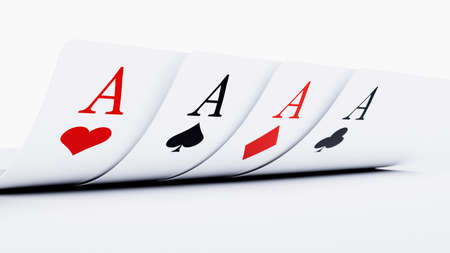 Four Aces. Gambling cards playing poker. 3d rendering illustration