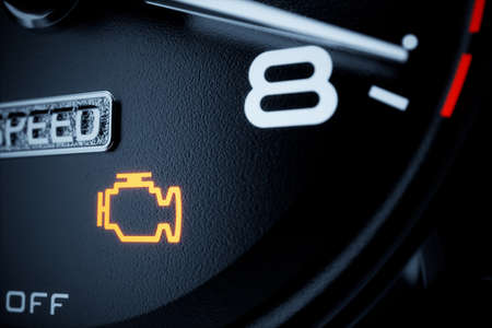 Controllare la spia del motore accesa sul cruscotto. Illustrazione di rendering 3D