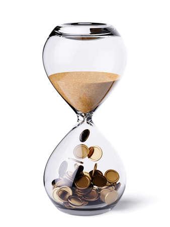 Tijd is geld financieel concept. Zandloperklok met zand en gouden munten. 3D-rendering illustratie. Geïsoleerd op witte achtergrond Stockfoto