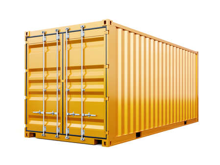 Cargo container shipping freight, yellow color. Logistics and see transportation business concept. 3d rendering Illustration isolated on white background