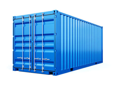 Cargo container shipping freight, blue color. Logistics and see transportation business concept. 3d rendering Illustration isolated on white background