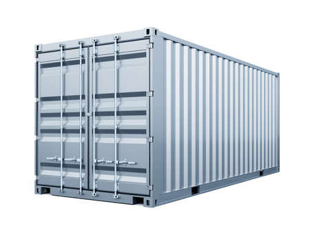 Cargo container shipping freight, silver color. Logistics and see transportation business concept. 3d rendering Illustration isolated on white background