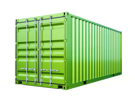 Cargo container shipping freight, green color. Logistics and see transportation business concept. 3d rendering Illustration isolated on white background