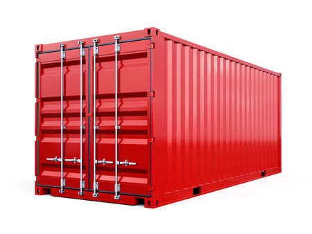 Cargo container shipping freight, red color. Logistics and see transportation business concept. 3d rendering Illustration isolated on white background Stock Photo