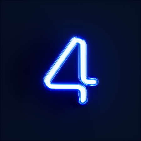 Neon light digit alphabet character 4 four font. Neon tube letter glow effect on dark blue background. 3d rendering