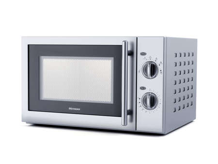 Stainless stell modern new microwave oven isolated on white background