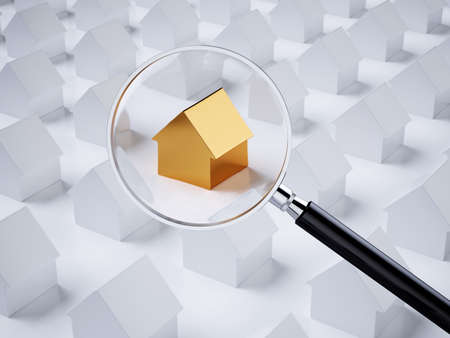 Golden house with magnifying glass. Real estate searching concept. House inspecting idea. 3d rendering illustration