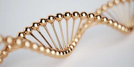DNA-goldenes Strukturmodell mit weichem Fokus. Konzept der medizinischen Forschung der Wissenschaft. 3D-Rendering Standard-Bild