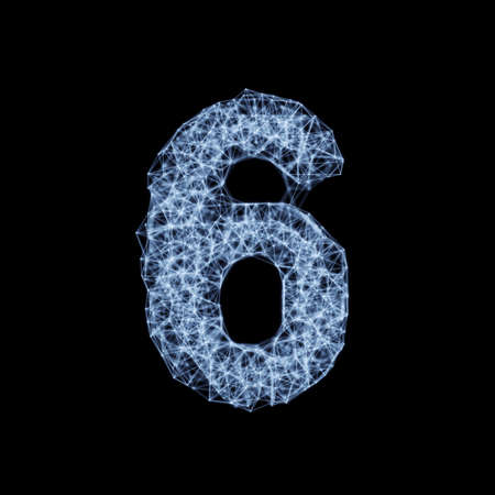 Abstract mesh line and point light digit number character 6 six font. Block chain digital link network technology illuminated shape. Big data node base concept glow effect on dark black background. 3d rendering illustration