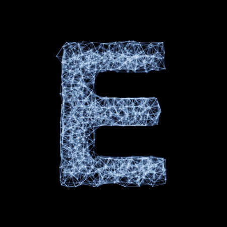 Abstract mesh line and point light alphabet character E font. Block chain digital link network technology illuminated shape. Big data node base concept glow effect on dark black background. 3d rendering illustration