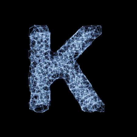 Abstract mesh line and point light alphabet character K font. Block chain digital link network technology illuminated shape. Big data node base concept glow effect on dark black background. 3d rendering illustration