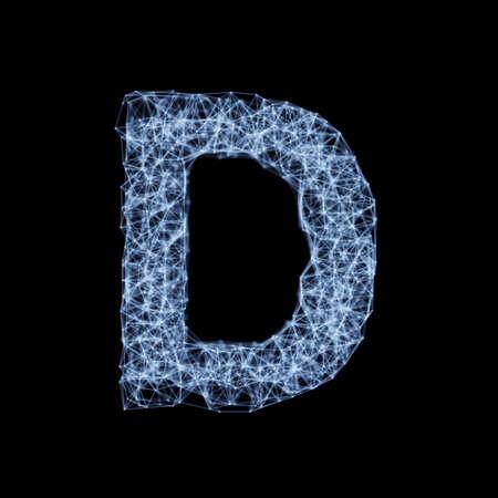 Abstract mesh line and point light alphabet character D font. Block chain digital link network technology illuminated shape. Big data node base concept glow effect on dark black background. 3d rendering illustration Banco de Imagens