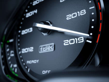 2019 year car speedometer countdown concept. 3d rendering illustration Stock Photo
