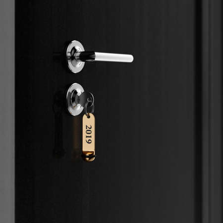 Brown hotel room door with key in the lock with golden lable number 2019 new year concept Reklamní fotografie