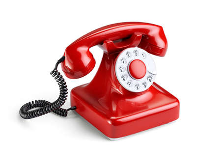 3d illustration of red old-fashioned phone isolated on white background Фото со стока