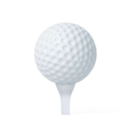 Golf ball on tee ready to be shot. Soft focus 3d renderin illustration isolated on white background