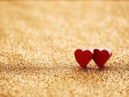 Valentine's Day greeting. Heart on a golden board with shalow depth of field. 3d rendering illustration Stock Photo