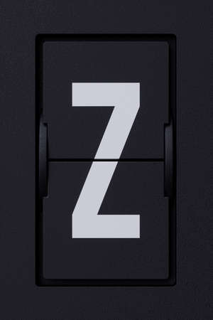 Airport mechanical flip board panel font.  Front view white ABC capital alphabet character letter Z on dark background. 3d rendering illustration