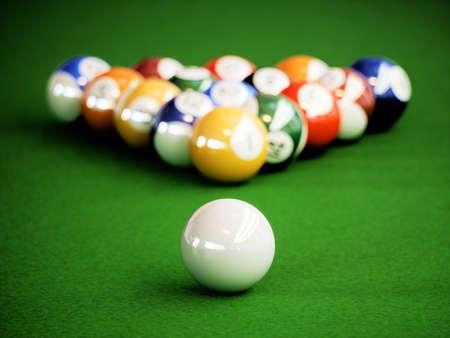Billiard balls on a green pool table. 3d rendering illustration