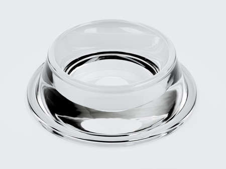 3d render of empty glass plastic new pets bowl isolated on white background
