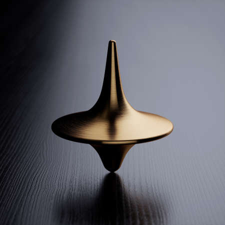 Spinning gold top. 3d rendering illustration