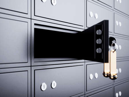 Deposit box opened with key and golden blank label. 3d rendering illustration Zdjęcie Seryjne