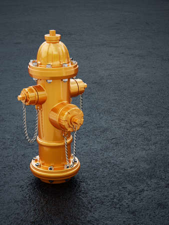 3d illustration of yellow fire hydrant on asphalt background