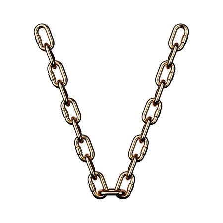 Font gold V golden metal alphabet letter chain. Isolated on white background. 3d rendering Imagens