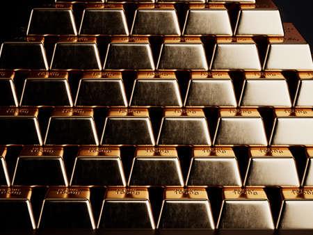 Gold bars background. 3d rendering illustration