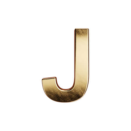 3d render of golden alphabet letter simbol - J. Isolated on white background