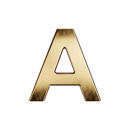 3d render of golden alphabet letter simbol - A. Isolated on white background