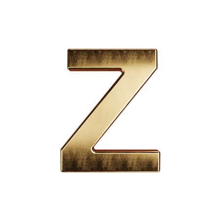 3d render of golden alphabet letter simbol - Z. Isolated on white background