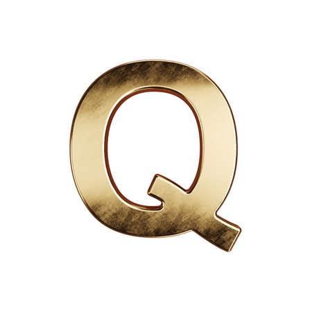 3d render of golden alphabet letter simbol - Q. Isolated on white background Banco de Imagens