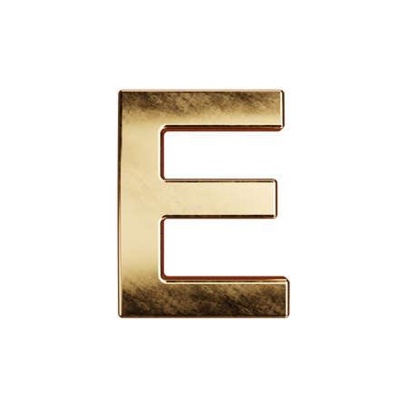 3d render of golden alphabet letter simbol - E. Isolated on white background