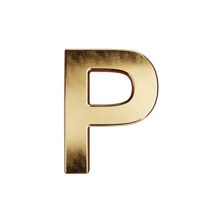 3d render of golden alphabet letter simbol - P. Isolated on white background Banco de Imagens