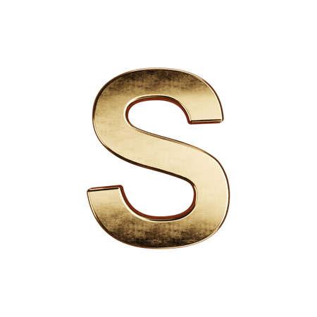 3d render of golden alphabet letter simbol - S. Isolated on white background
