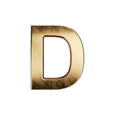 3d render of golden alphabet letter simbol - D. Isolated on white background